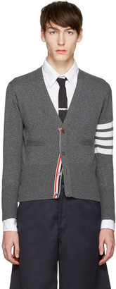 Thom Browne Grey Classic Short V-Neck Cardigan $1,750 thestylecure.com