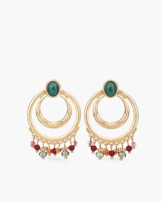 Chico's Chicos Multi-Colored Stone Drop-Hoop Earrings