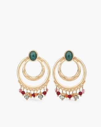 Multi-Colored Stone Drop-Hoop Earrings