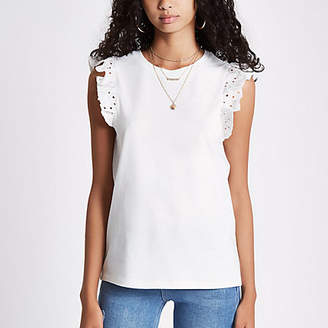 River Island Womens White broderie frill sleeve tank top