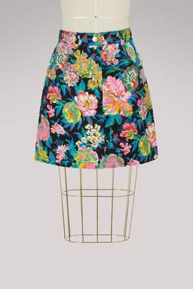 MSGM Denim flowers skirt