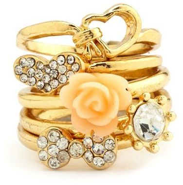 Charlotte Russe Knotted Heart Stackable Ring Set