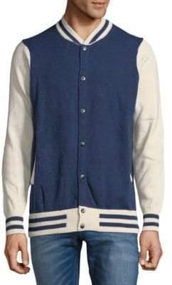 Mostly Heard Rarely Seen Stripe Cotton Varsity Jacket