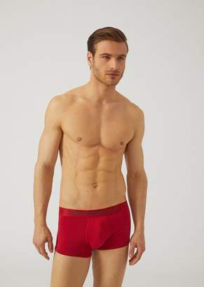 Emporio Armani Boxers In Stretch Cotton With Branded Waistband