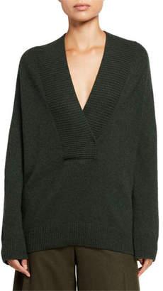 Vince Ribbed Shawl Collar Long-Sleeve Tunic