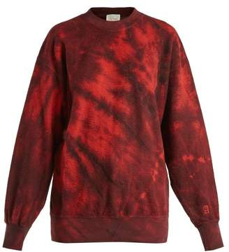 Aries Tie Dyed Cotton Sweatshirt - Womens - Red