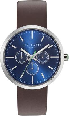 Ted Baker Jack Multifunction Leather Strap Watch, 42mm