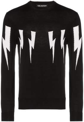 Neil Barrett lightning bolt crew neck sweater