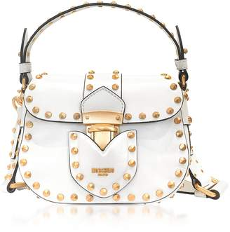 Moschino White Leather Crossbody Bag w/Golden Studs