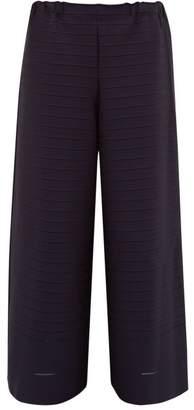Issey Miyake Woody Mesh Insert Cropped Trousers - Womens - Navy