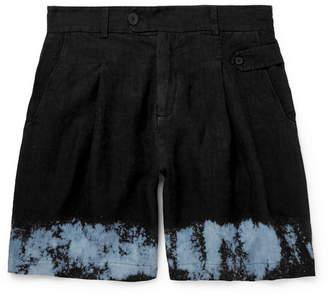 Isabel Benenato Wide-Leg Dip-Dyed Linen Shorts
