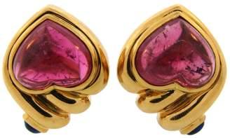 18K Yellow Gold Ruby Sapphire Heart Earrings