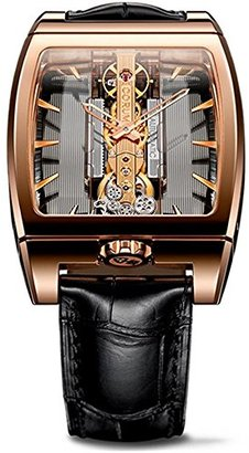 Corum ゴールデンブリッジ313.165.55 / 0002 gl10r 38 mm 18 KゴールドケースブラウンレザーWomen 's Watch