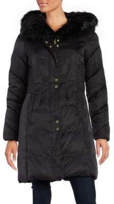 Via Spiga Faux Fur Collar Hooded Puffer Coat