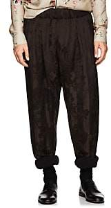 Haider Ackermann Men's Striped Floral Linen-Blend Harem Pants - Brown