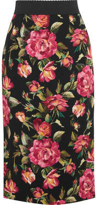 Dolce & Gabbana - Rose Printed Crepe Skirt - Pink $845 thestylecure.com