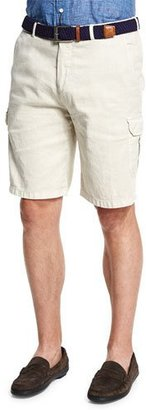 Peter Millar Garment-Dyed Cargo Shorts, Ivory $158 thestylecure.com