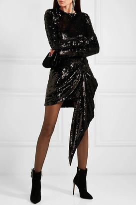16ARLINGTON - Draped Sequined Crepe Mini Dress - Black