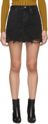 A Gold E Agolde AGOLDE Black Quinn Hi Rise Miniskirt
