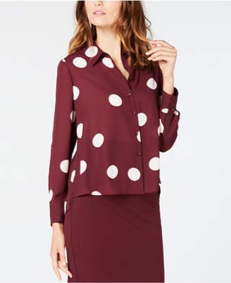 INC International Concepts I.n.c. Polka-Dot High-Low Shirt