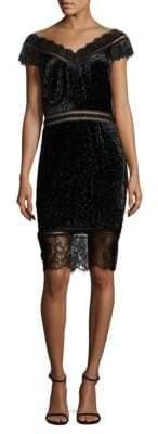 Tadashi Shoji Cutout Detail Velvet Sheath Dress