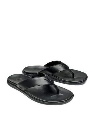 OluKai Men's Nalukai Leather Flip-Flop Sandals