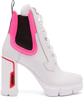 Prada Leather And Neoprene Ankle Boots - Womens - White Multi