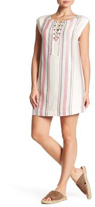 Cupcakes And Cashmere Reed Lace-Up Striped Linen Blend Dress