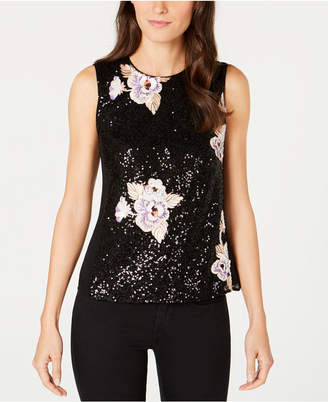 Nanette Lepore Embroidered Sequin Top, Created for Macy's