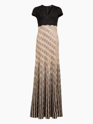 St. John Inlay Sequin Trellis Knit V-Neck Fit & Flare Gown