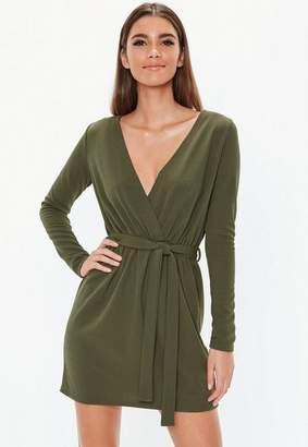 Missguided Khaki Tie Waist Dress