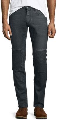 Belstaff Blackrod Slim-Stretch Jeans W/Knee Panels, Charcoal $425 thestylecure.com