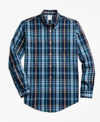 Brooks Brothers Milano Fit Slub Cotton Dark-Blue Plaid Sport Shirt