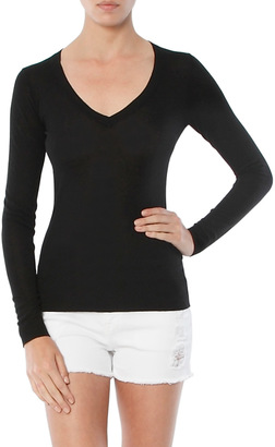 Minnie Rose Knit Tease V Neck Sweater $88 thestylecure.com