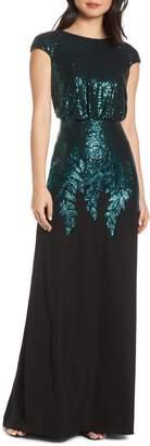 Tadashi Shoji Sequin & Crepe Blouson Evening Dress