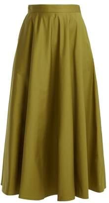 Bottega Veneta Flared Cotton Blend Skirt - Womens - Green