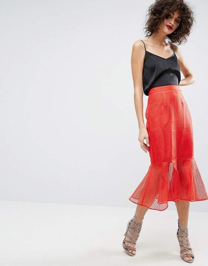 AsosASOS Midi Skirt in Grid Organza with Peplum Hem Detail