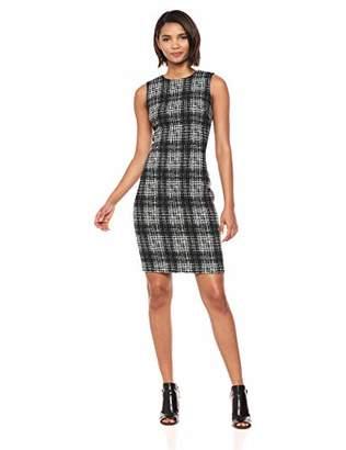 Calvin Klein Women's Textured Sleeveless Sheath with Round Neckline Dress