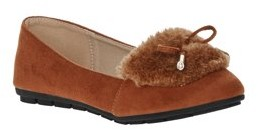 Victoria K. Victoria K Women's Soft Textured Material With Faux Fur Ornament And Gold Tip Bow Ballerina Flats