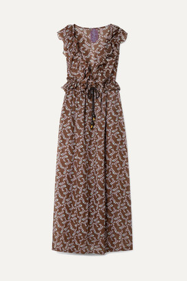 Yvonne S - Marie-antoinette Ruffled Floral-print Linen Maxi Dress - Brown