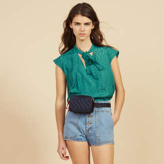 Sandro Sleeveless Top With Tie Neckline