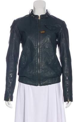 G Star Raw Correctline x G-Star Leather Long Sleeve Biker Jacket