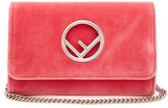 Fendi Kan I Logo Velvet Cross Body Bag - Womens - Pink