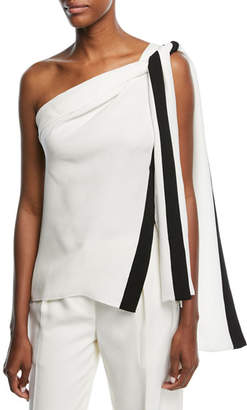 Narciso Rodriguez One-Shoulder Silk Blouse with Ribbon Ties