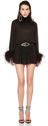 Saint Laurent Feather Trim Washed Silk Mini Dress