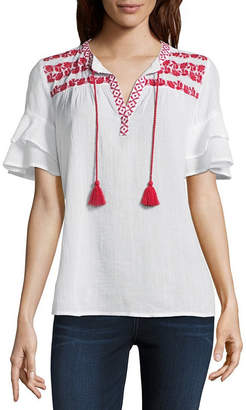 Liz Claiborne Short Sleeve Split Crew Neck Woven Embroidered Ruffled Blouse