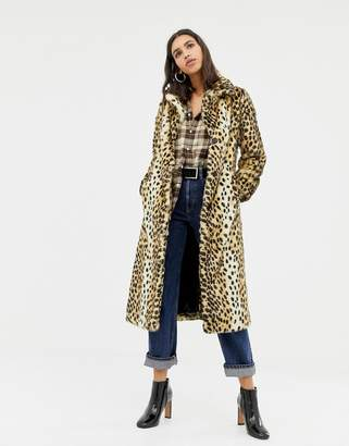 Warehouse faux fur maxi coat in leopard