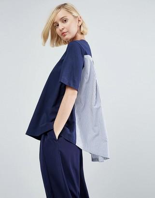 ASOS White ASOS WHITE Stripe Poplin Cape Back T-Shirt $49 thestylecure.com