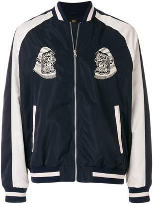 Edwin logo print bomber jacket