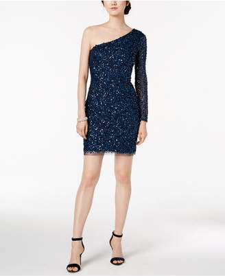 Adrianna Papell One-Shoulder Sequined Mesh Dress
